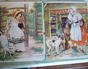 Mother Goose Puzzles 6 puzzles in box. Complete 1940's Vintage box of SIX (6) colorful Jig Saw Puzzles