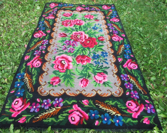 Bessarabian Kilim. Floor Rugs. Vintage Moldovan Kilim, Handmade 55 years old, handmade. Carpets, Eco-Friendly. kom.L