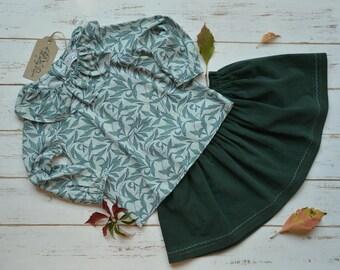 Girls Cotton Blouse Green Leaf Print