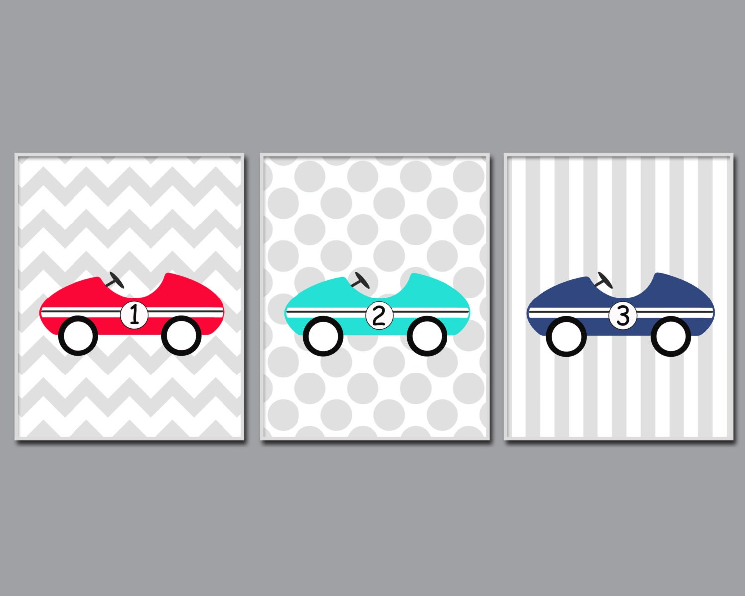 Car Nursery Wall Decor : Baby boy nursery art prints retro car wall by