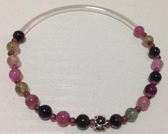 Tourmaline, garnet and silver bracelet