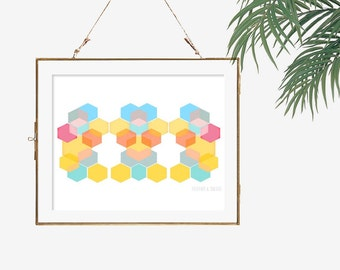 Modern art geometric artwork hexagon art home office decor orange bedroom decor living room decor pastel pink blue and yellow wall decor
