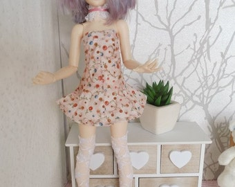 dress put down round neck lace minifée and dolls of this size