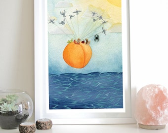 James and the Giant Peach Wall Art Illustration Bugs Ocean Seagulls Flying Limited Edition Print