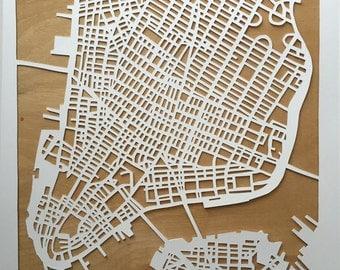 Cut out map of Manhattan, New York
