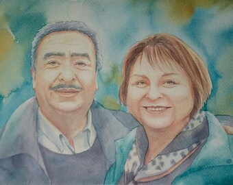 Custom watercolor portrait, couple watercolor portrait, art commission, couple portrait, custom gift