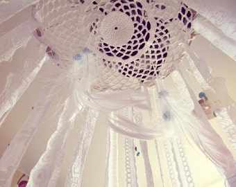Bohemian Dreamcatcher Mobile - Baby Crib Mobile - Newborn Gift - Hippie Bedroom Decor - White Lace Mobile - Boho Nursery Decor