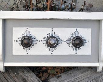 Rustic Hook Rack Wall Shelf Vintage Antique Rusty Door Knob Reclaimed SH141
