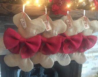 Gold Burlap Dog Bone Christmas Stocking