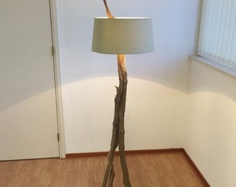 Floor lamp with three weathered old oak branches