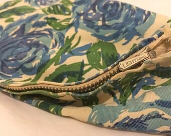 Vintage 1960s Blue Floral Fabric Makeup Bag By Lightening