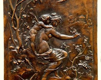 Vintage copper relief Casual Amur and Venus Wall art copper picture Renaissance relief copper picture Wall art decor Antique subject picture