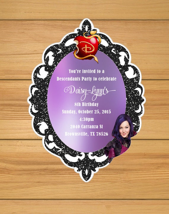 Descendants party invitations Mal's by BirthdayPartyBox on Etsy