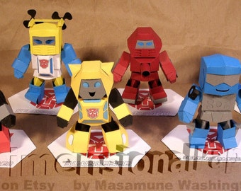 Lil' Autobot Minibot cardmodels - heroic 4inch SD Cybertronians papercraft set - Bumblebee Cliffjumper Beachcomber Cosmos Warpath Seaspray