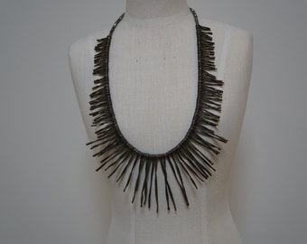 Spikey oxidized sterling silver necklace