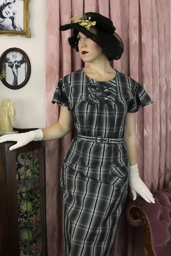 1930s Style Day Dresses 1930s 30s cotton  / Mildred / Authentic vintage reproduction / Black Plaid 30s dress / XS S M L Xl $188.55 AT vintagedancer.com