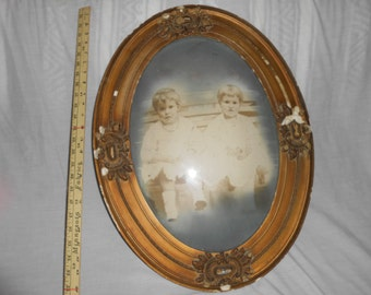 Antique Oval Composite Frame with Children Photo 20 x 13.75 Convex Glass