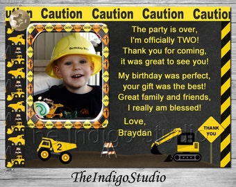 Construction Thank you card ALL Ages 1 - 4 verse options first second third fourth Birthday