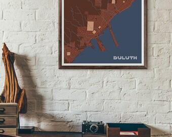 Sunset edition - Duluth vintage map print