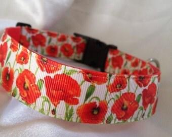 Handmade Red Poppy Dog Collar
