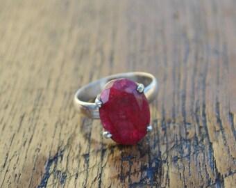 Natural Red Ruby Gemstone Ring, 925 Sterling Silver, Prong Set Ring, July Birthstone Gift Ring , Artisan Handmade Ring, Yellow Gold Ring