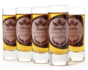 Shot Glasses, 3 Personalized Bridesmaid Shot Glasses
