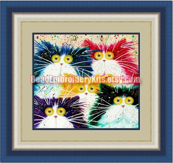 Funny Cats DIY bead embroidery kit beaded painting craft set