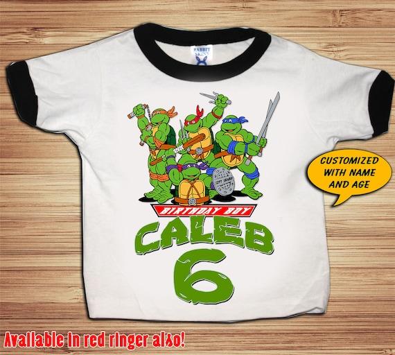 TMNT Birthday Black or Red Ringer T Shirt Personalized - Teenage Mutant Ninja Turtles