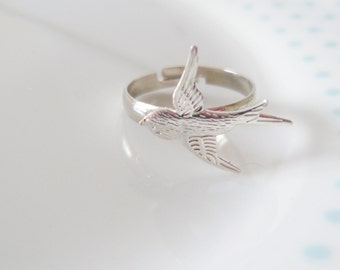 Swallow Silver Band Adjustable Ring, Bird, Sparrow, Dainty, Pretty, Simple, Minimalist, Nature, Animal