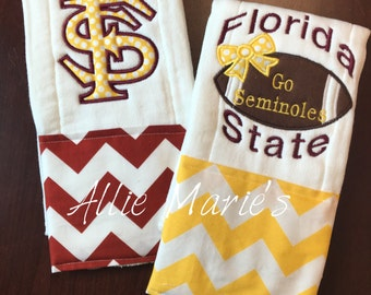 Baby Burp Cloths, Burp Cloths, Girl burp cloths, Boy Burp Cloths, Embroidered Burp Cloths, Collegiate burp Cloth, Flordia State Burp Cloths
