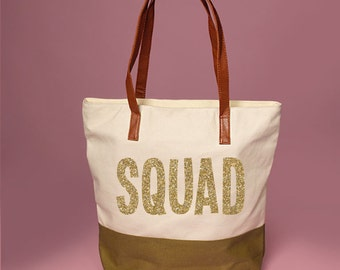 Cute Olive and Cream SQUAD Tote Bag