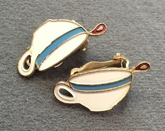 Vintage Enameled Coffee Cup Earrings-Clips