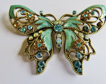 Vintage Exquisite Large Avon SP Pale Turquoise Enamel And Rhinestone Brooch Pin