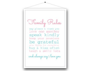 Family Print // Family Rules. A4 Print.