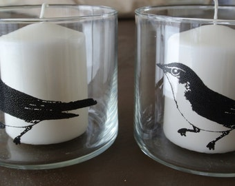 Shabby Chic Classic Bird Candle holders