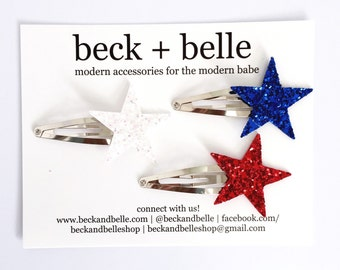 Red white and blue star hair pins