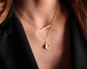 Layering Necklace // Pearl Neckalce // Layered Necklace //