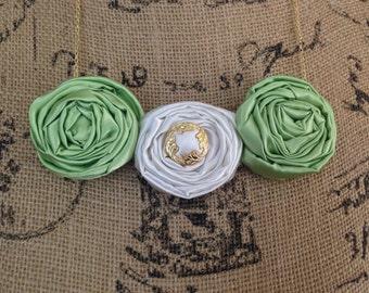 Green Rosette Bib Necklace