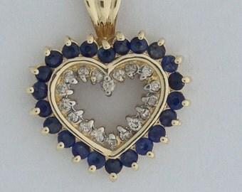 Heart Pendant Genuine Sapphire Diamond  10kt Yellow Gold