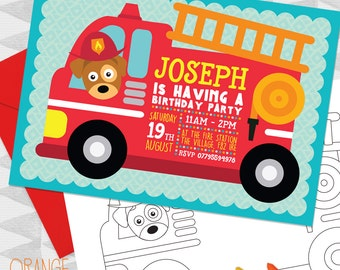 5 X Personalised Red FIRE ENGINE Dog Pup Birthday Party Invitation Invites Stationary