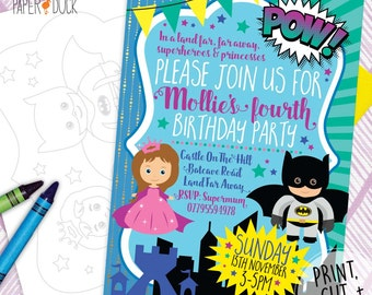 Printable Personalised Fairytale PRINCESS SUPERHERO  Birthday Party Invitations Stationary