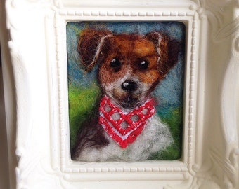 Handmade customisable needle felted 'my pet dog' portrait picture in vintage ornate frame
