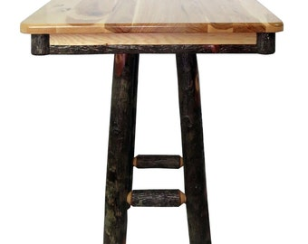 """All Hickory 36"""" Square Top 42"""" High Pub Table - Square Base"""