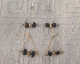 Coffee Beans and Triangle Earrings