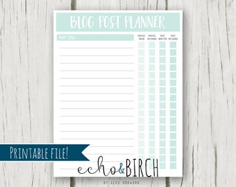 """PRINTABLE Blog Post Planner Page   8.5""""x11""""   Instant Download   Printable Stationery & Planner Supplies"""