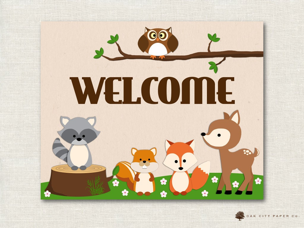Image result for welcome woodland theme sign