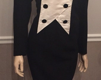 Adele Simpson black and white 80's dress / size 12