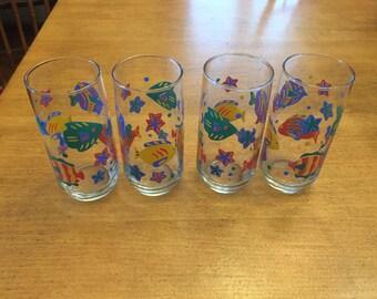 Vintage Libbey Fish Ocean Glasses (4)