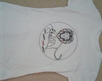 Soccer Lion on Fitted White T shirt --  Comparable to childs size 6
