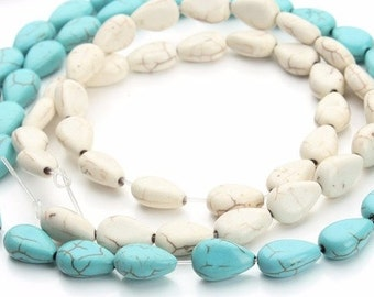 12 - Synthetic Howlite Turquoise Tear Drop Beads